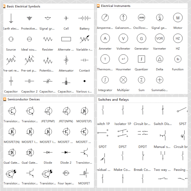 Standard Electrical Symbols For Electrical Schematic DiagramsEdraw