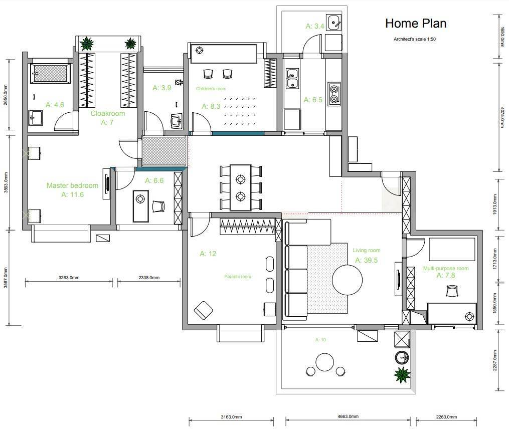 2D Floor Plan with Dimensions
