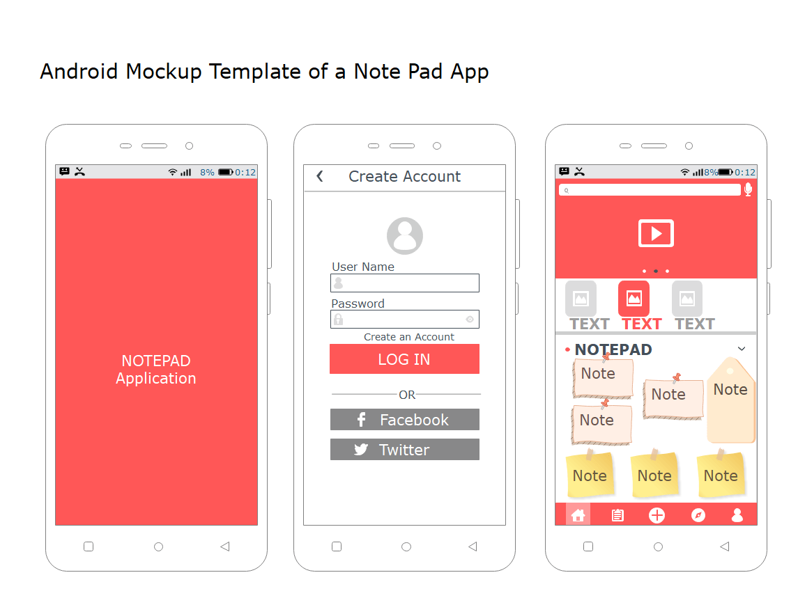 Android Mockup Template of a Notepad App