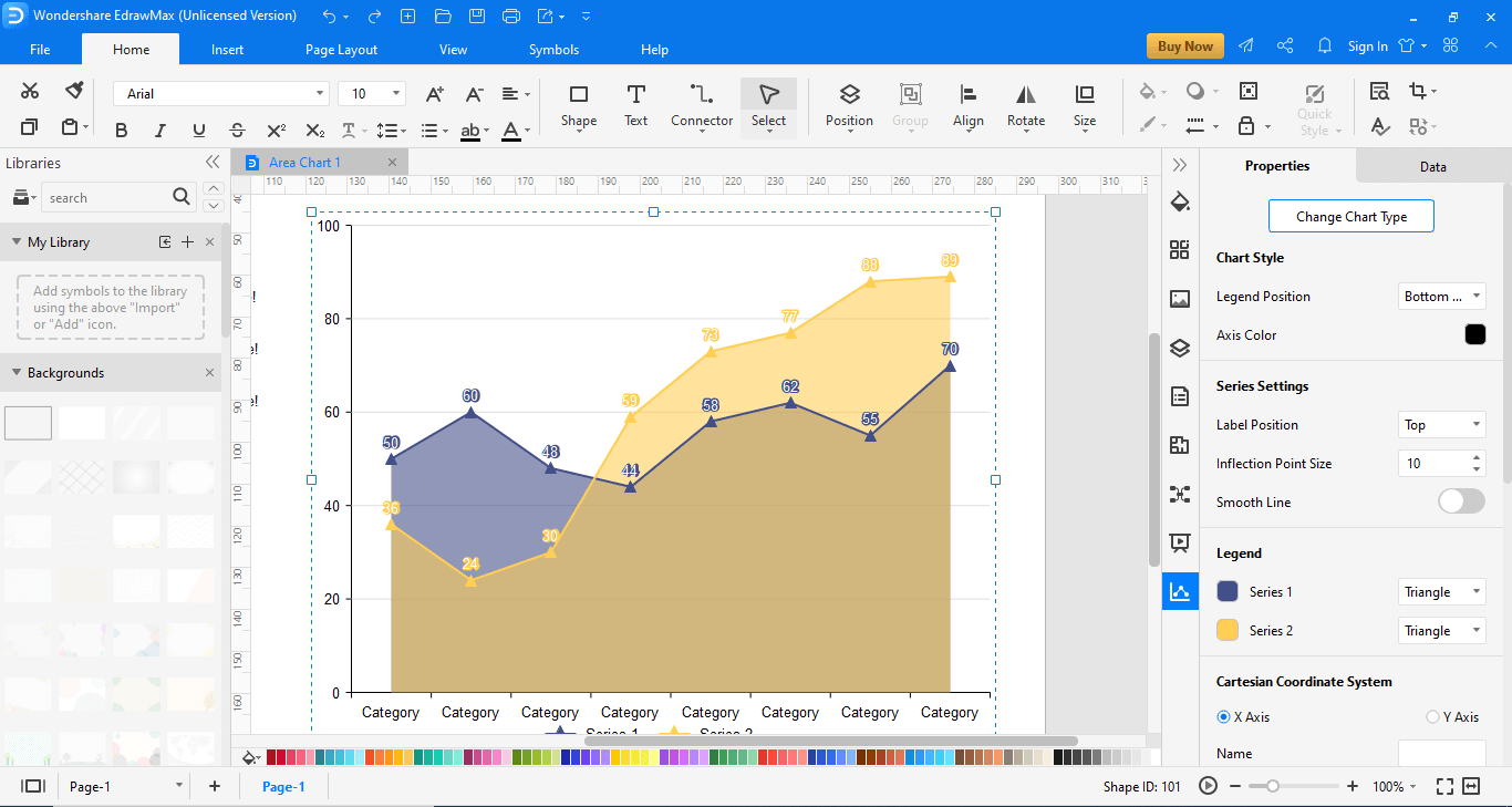 design your area chart