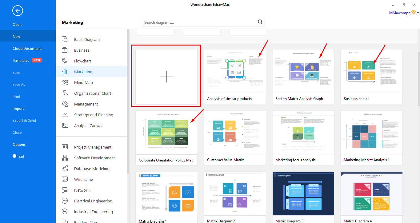 Select the template or Create from scratch