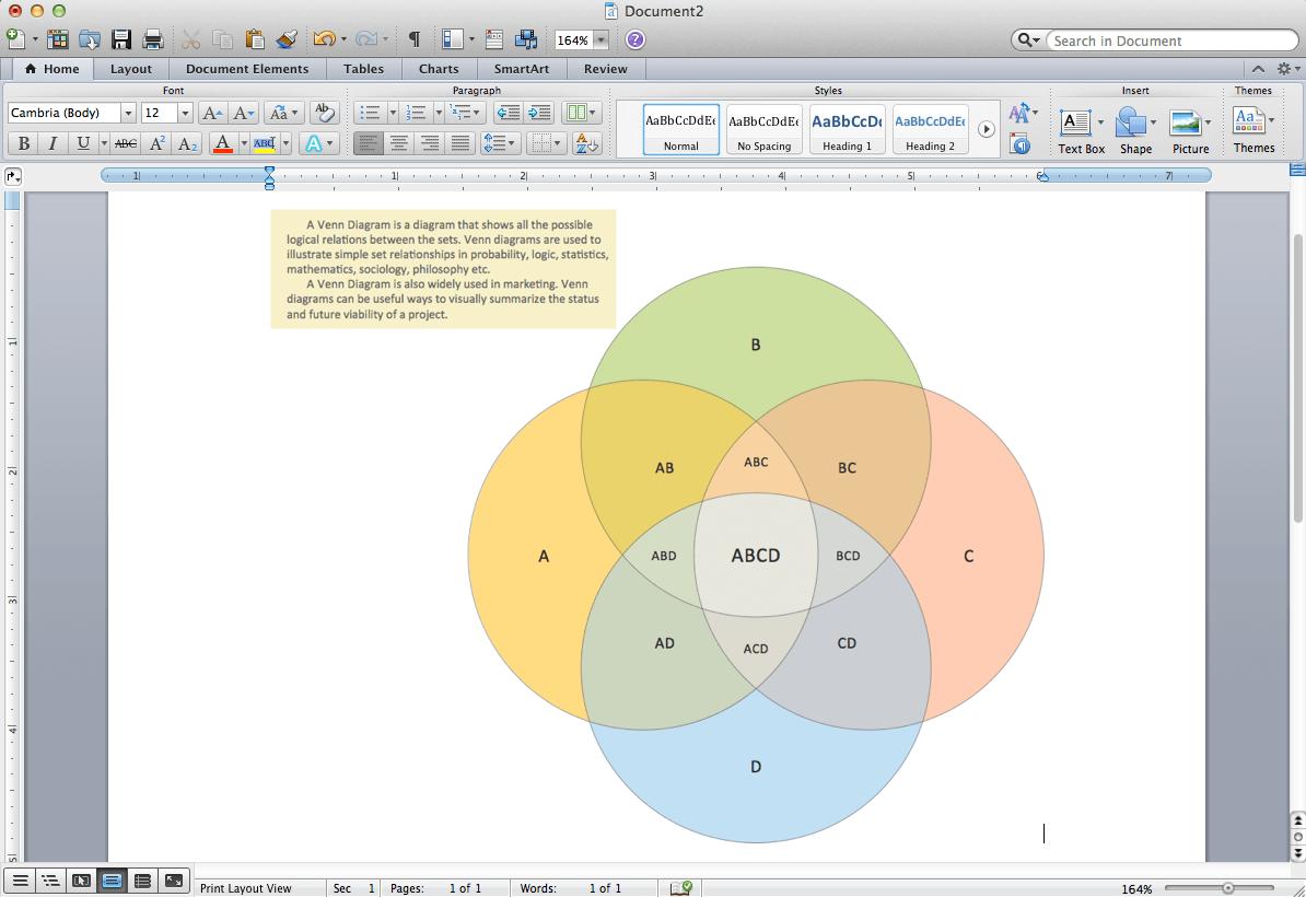 Venn-Diagramme für Word