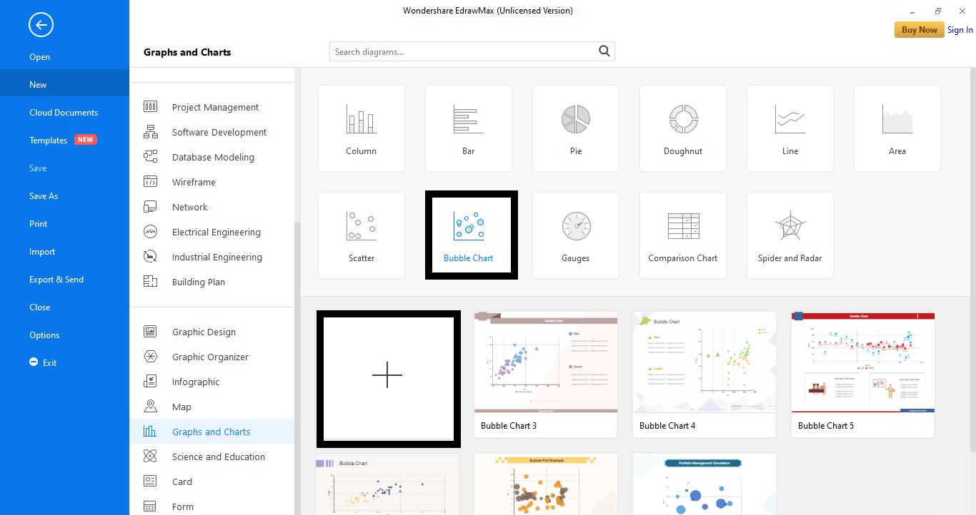 select the Bubble Chart tab