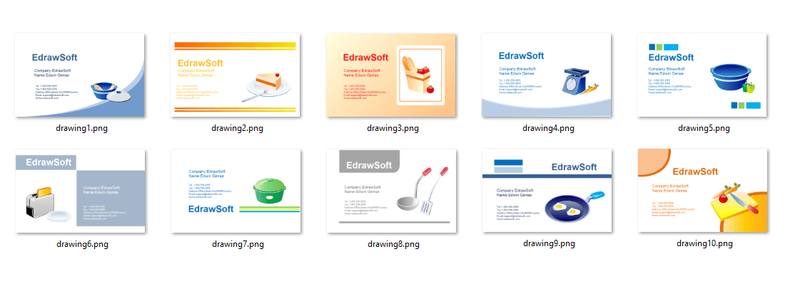 Business Card Templates about food