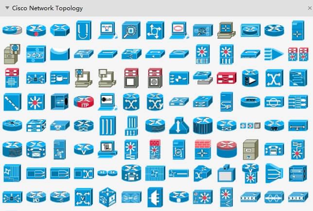 ícones de topologia de rede da cisco