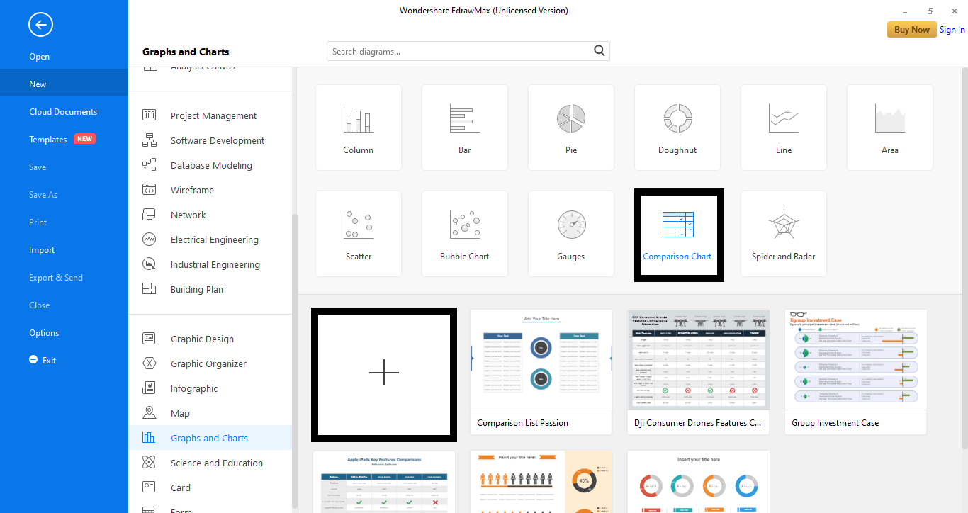 select the Comparison Chart tab