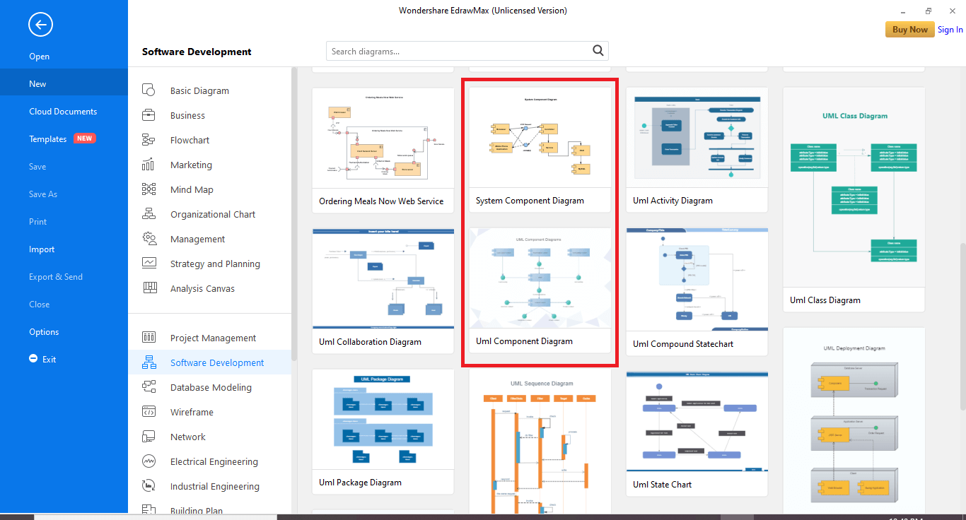 have two options for component diagrams