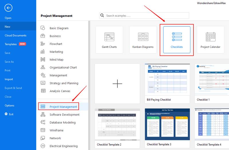 open checklist category