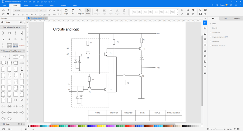 make circuit diagrams in EdrawMax