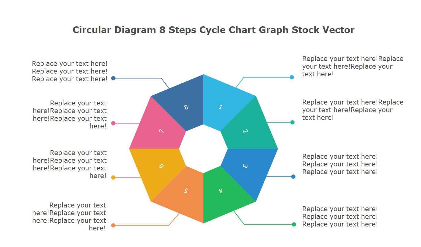 Circular Diagram 8 Steps Cycle Chart Graph Stock Vector