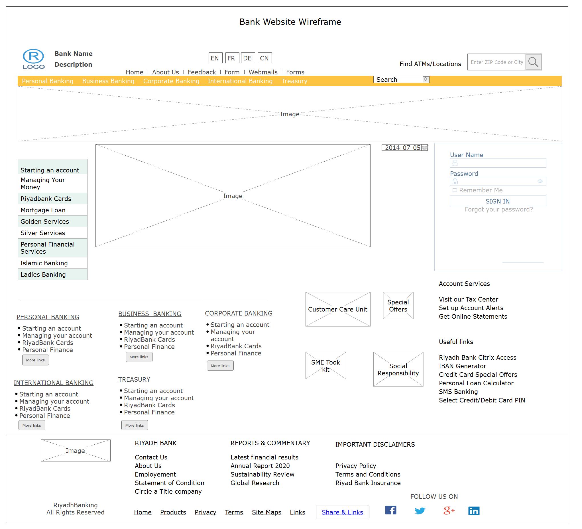 Bank Website Wireframe