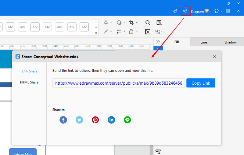 share and publish file in EdrawMax