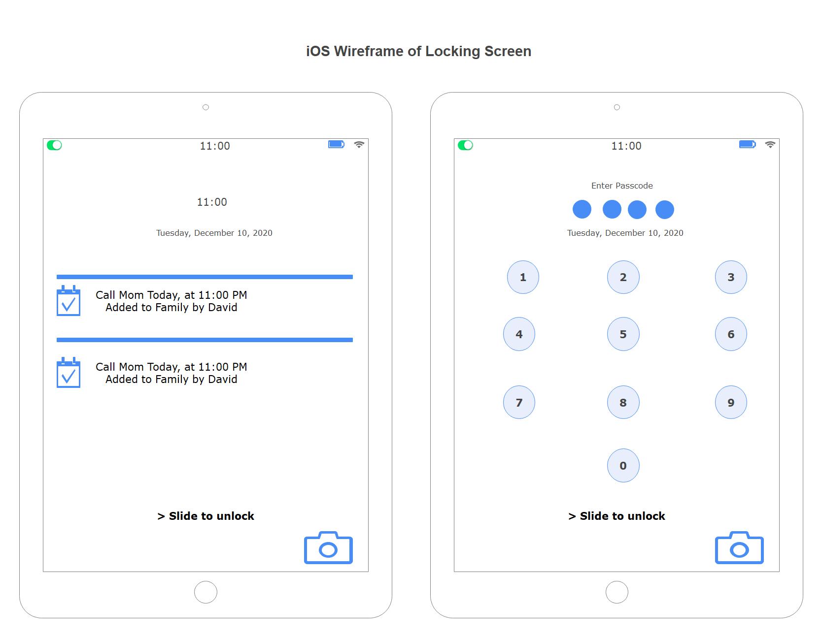iOS Wireframe of Locking Screen