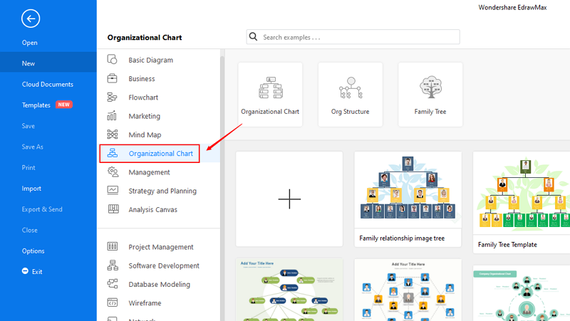 Start EdrawMax and Find Organizational Chart