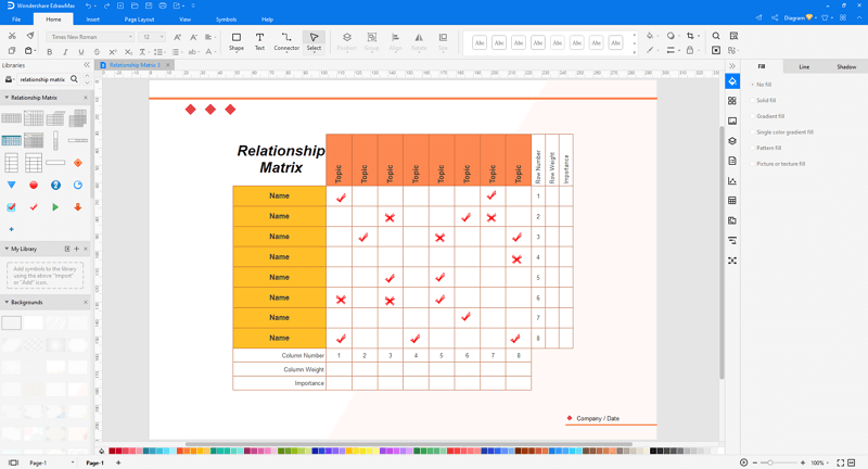make relationship matrix in EdrawMax