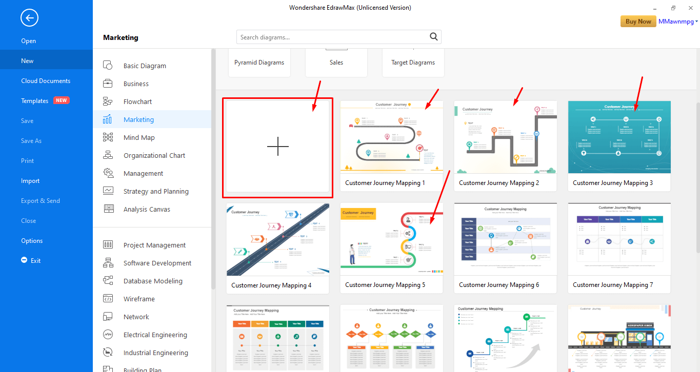 Choose a Template or create from scratch