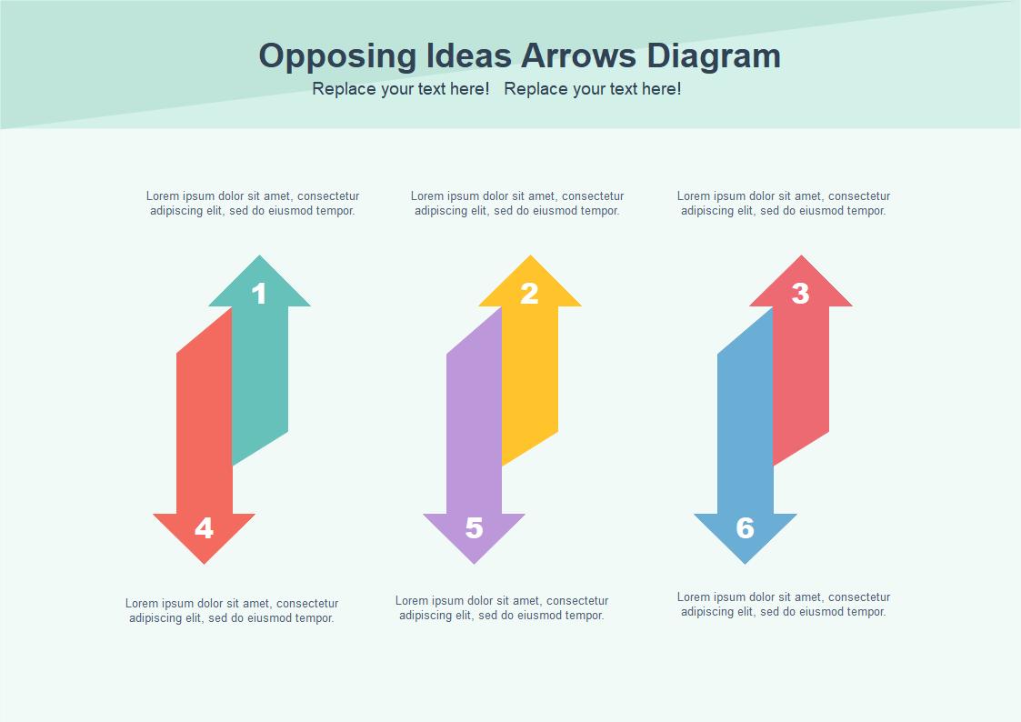 Opposing Ideas Arrows Diagram