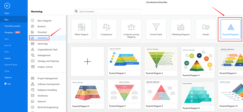 open pyramid diagrams template category