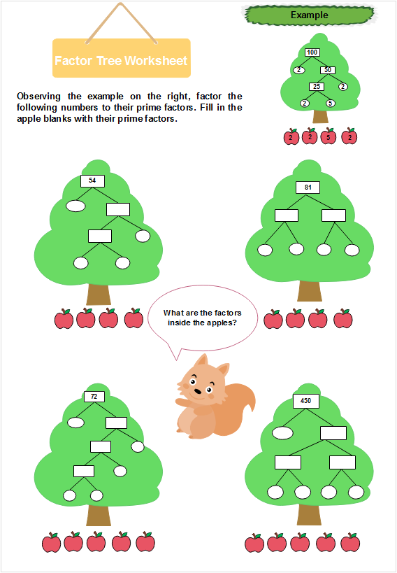 A cartoon factor tree worksheet
