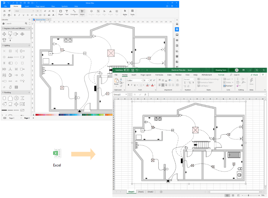 Export Floor Plan Diagram to Excel