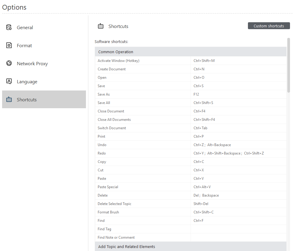 customizable keyboard shortcuts