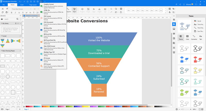 Save or export funnel chart