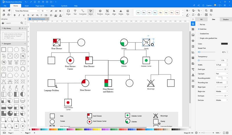 Choose a genogram template in EdrawMax