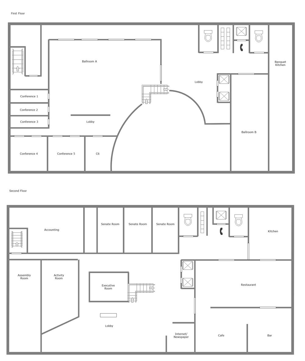 2-Floor Hotel Floor Plan Templates