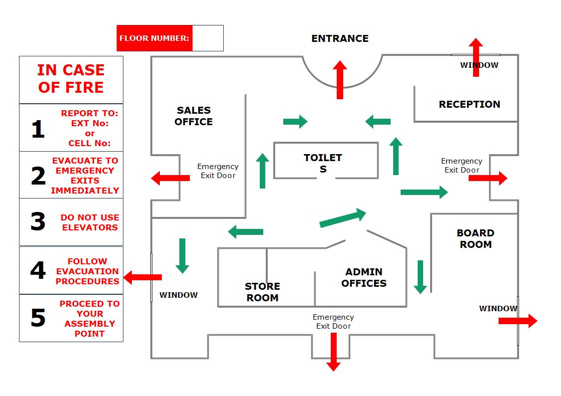 Hotel Emergency Evacuation Floor Plan Templates