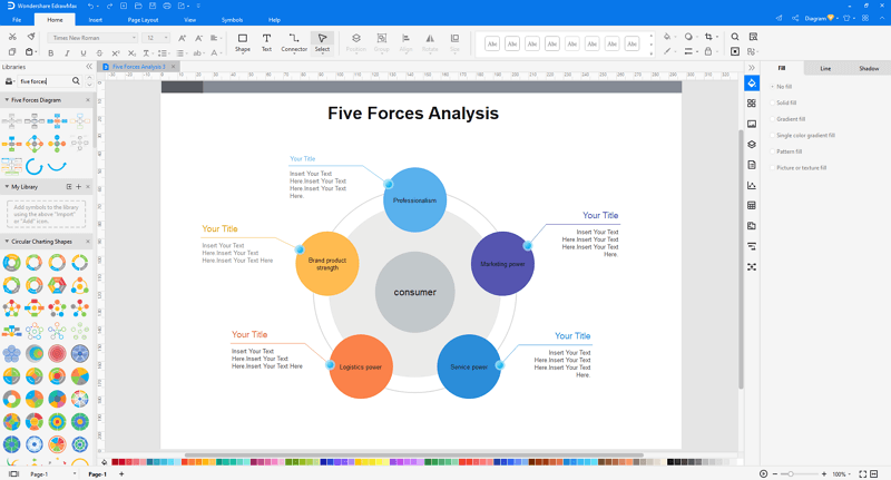 customize a five forces analysis in EdrawMax