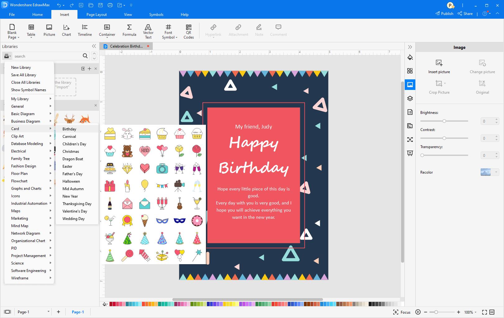 Add clip art on card