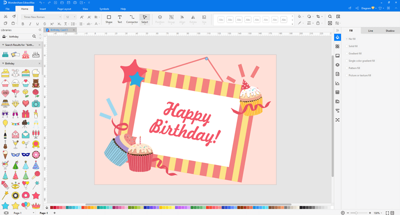 customize a birthday card in EdrawMax