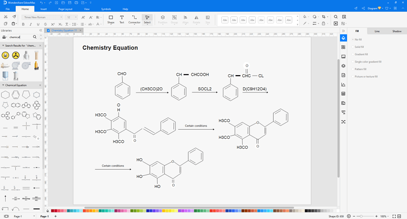 Choose a chemistry diagram template in EdrawMax