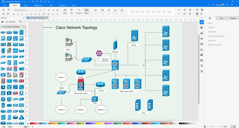 Choose a Cisco network diagram template in EdrawMax