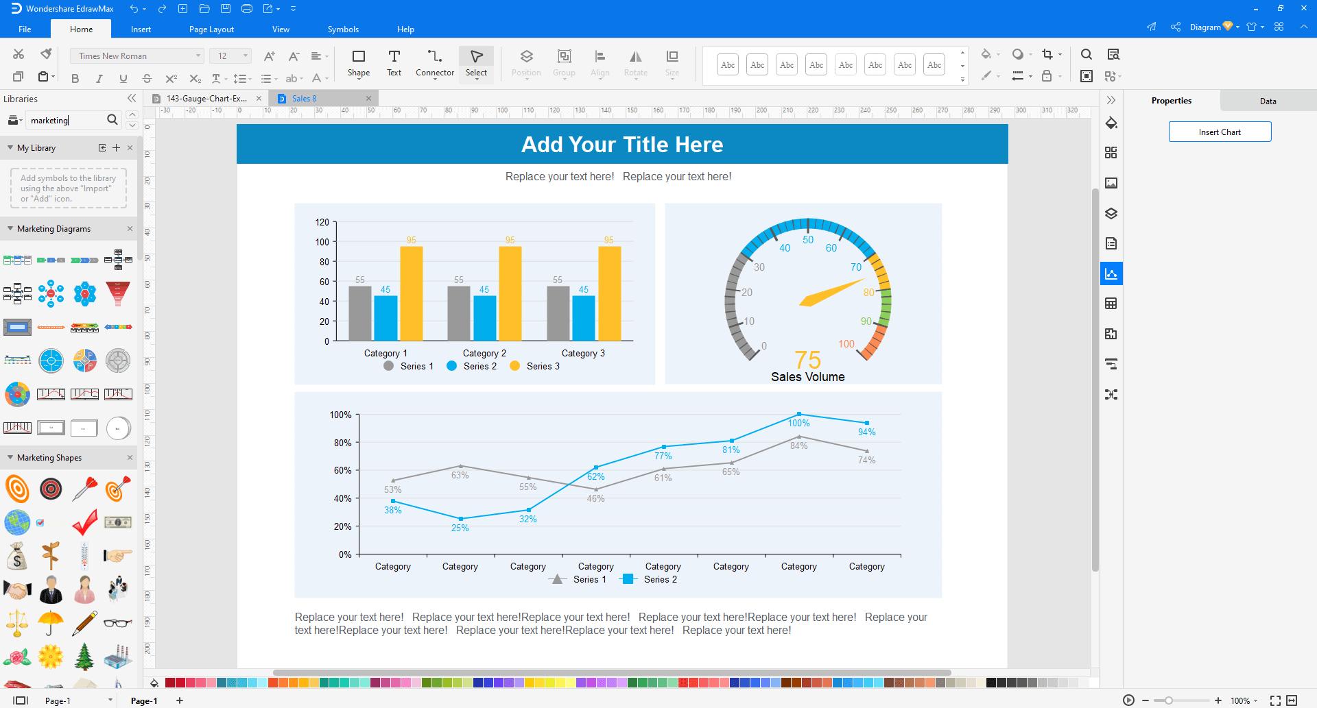 Choose a dashboard template in EdrawMax