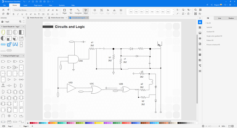 customize a logic gate diagram in EdrawMax