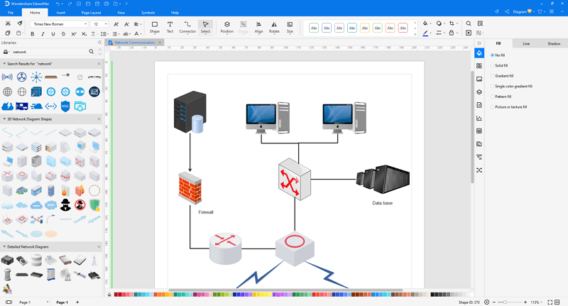 Choose a logical network diagram template in EdrawMax