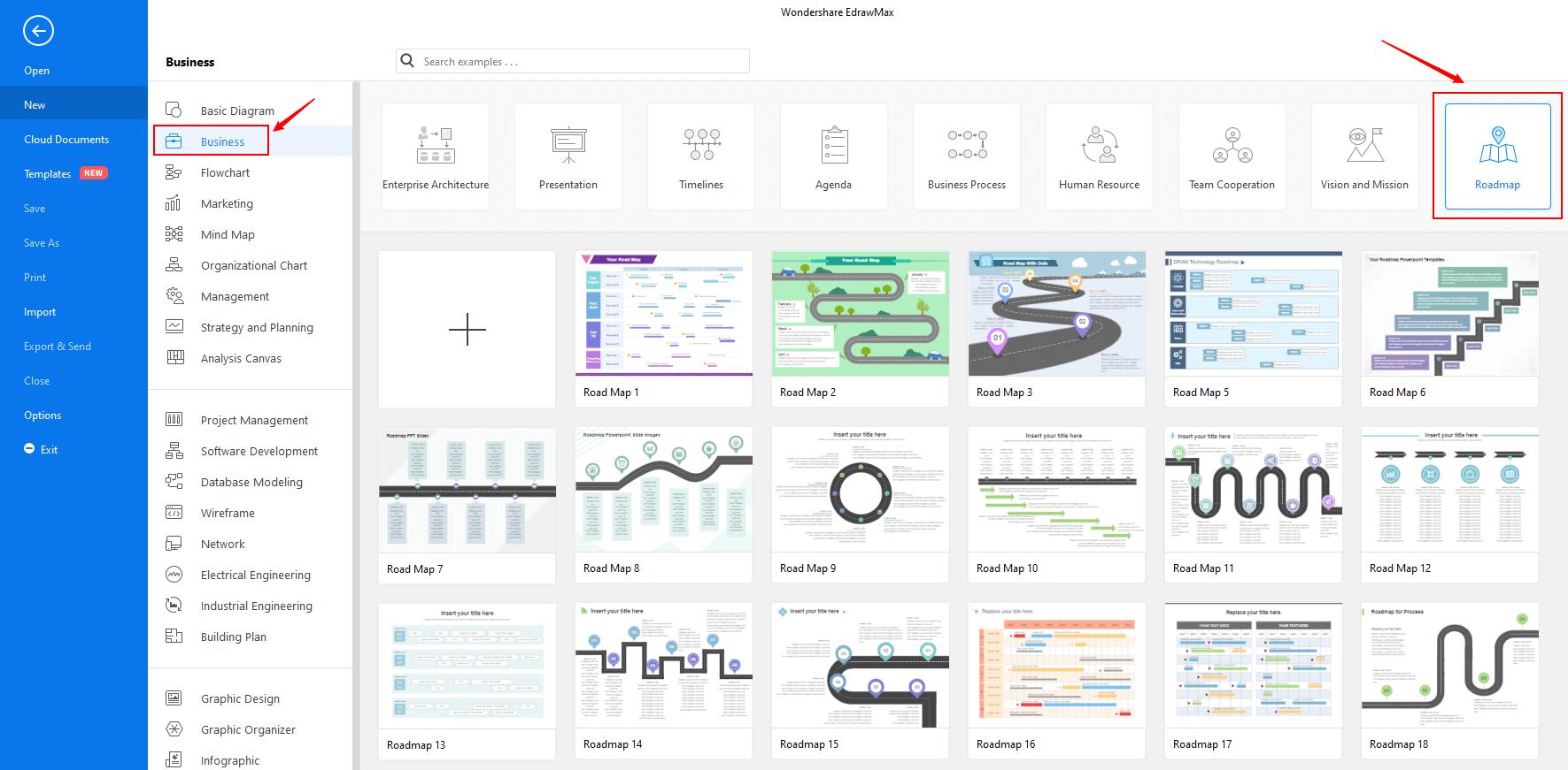 Open business roadmap template