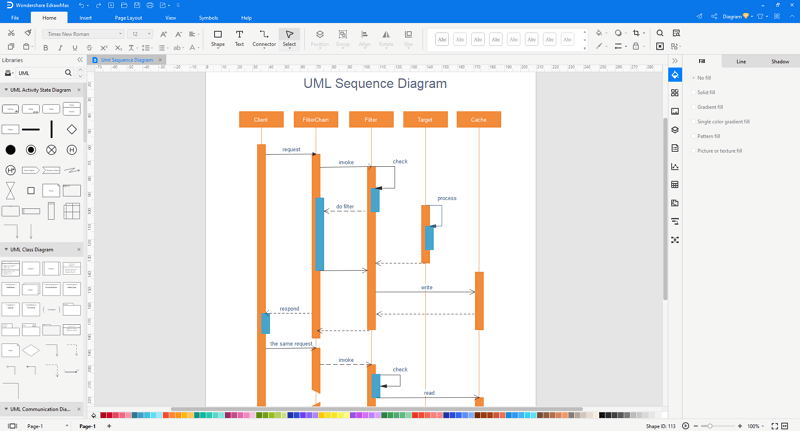 customize a UML sequence diagram in EdrawMax