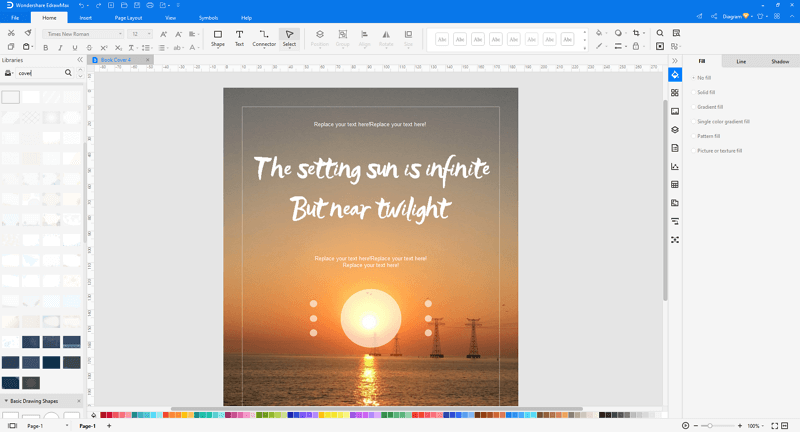 Choose a book cover template in EdrawMax