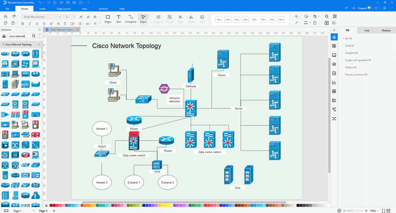 Choose a network topology diagram template in EdrawMax