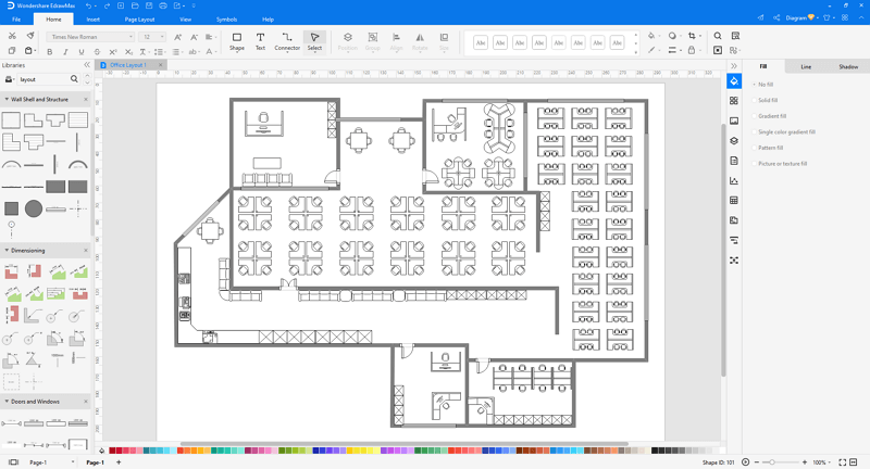 Choose an office layout template in EdrawMax