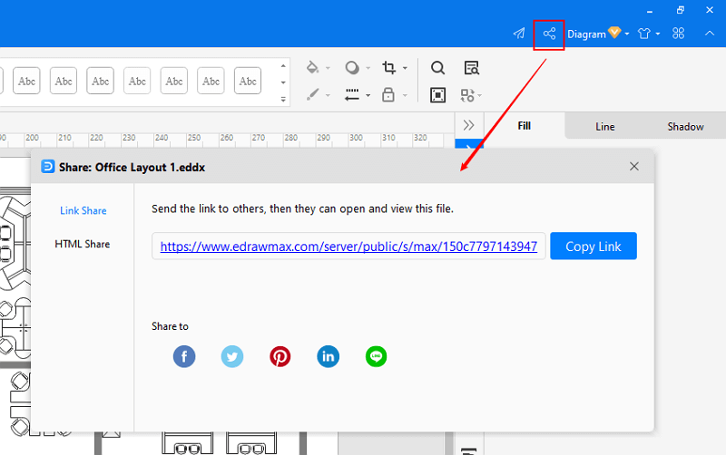 share and publish office layout in EdrawMax