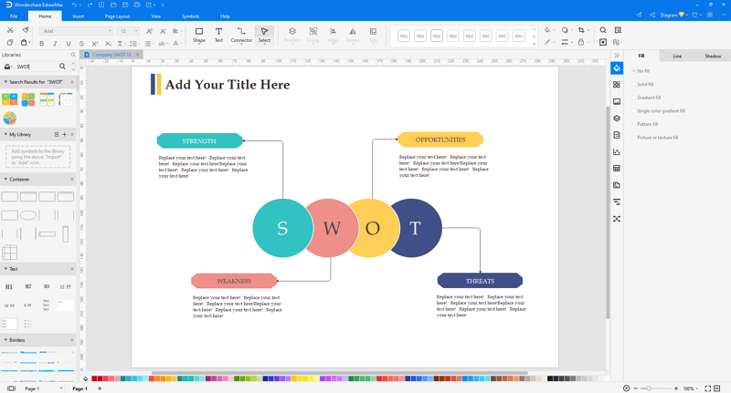 Choose a SWOT analysis template in EdrawMax