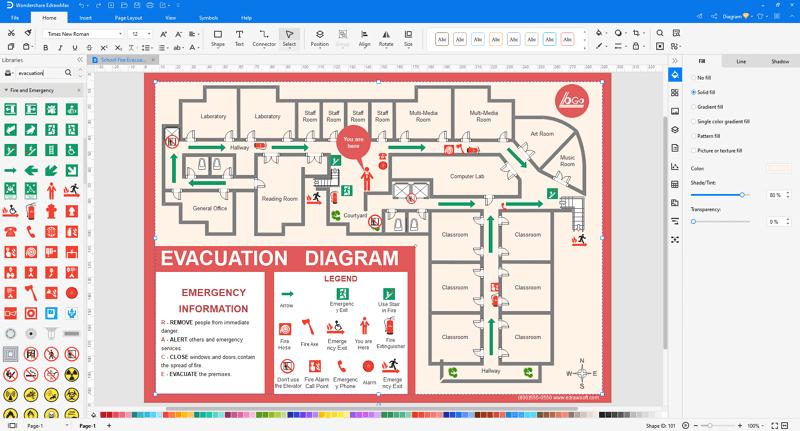 Choose a fire evacuation plan template in EdrawMax