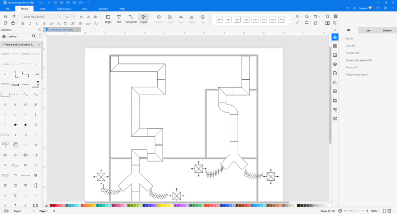 Choose an house HVAC plan template in EdrawMax