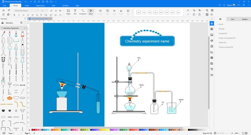 Choose a laboratory apparatus diagram template in EdrawMax
