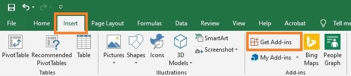 Open Office Add-ins box