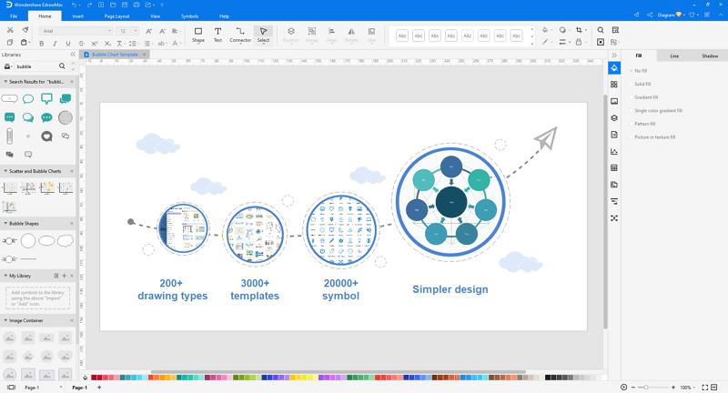 Choose a bubble diagram template in EdrawMax