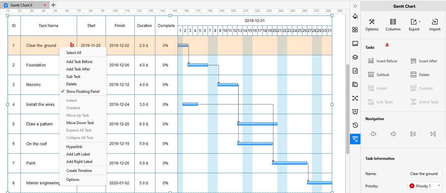 Edit the Gantt Chart